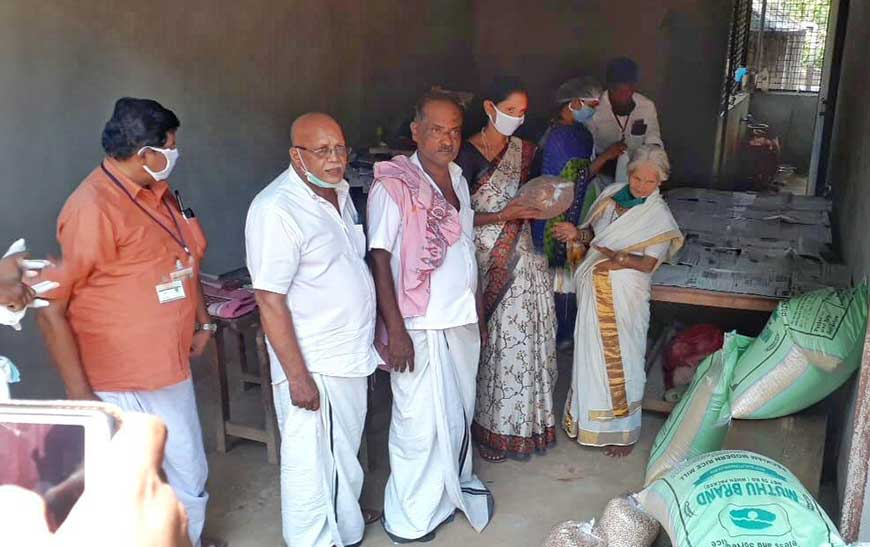 Donation of groceries to community kitchens setup at village panchayatin