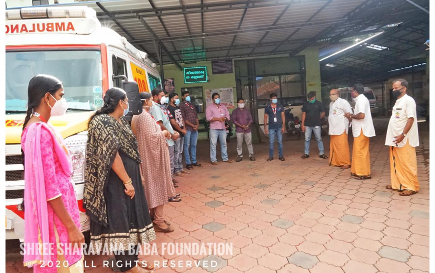 Distribution of groceries and vegetables and financial aid to needy at Ambulance Driver in Mannarkkad